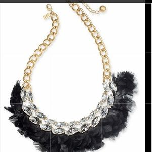 Kate Spade crystal and feathers Statement Necklace